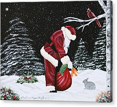 Santa Loves All Creatures Acrylic Print