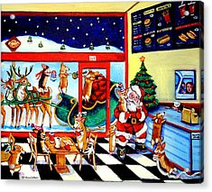 Santa Makes A Pit Stop Acrylic Print by Lyn Cook