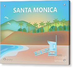 Santa Monica California Horizontal Scene Acrylic Print by Karen Young
