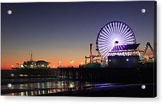 Santa Monica Pier At Sunset Acrylic Print by Frank Freni