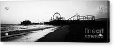 Santa Monica Pier Black And White Panoramic Photo Acrylic Print by Paul Velgos