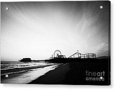 Santa Monica Pier Black And White Photo Acrylic Print by Paul Velgos