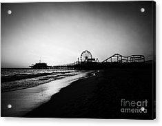 Santa Monica Pier Black And White Photography Acrylic Print by Paul Velgos