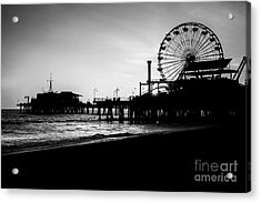 Santa Monica Pier Black And White Picture Acrylic Print by Paul Velgos