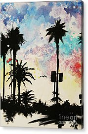 Santa Monica Pier - Center Two Of Three Acrylic Print by Ashlynn Apffel