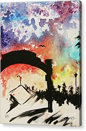 Santa Monica Pier - Left Side Three Of Three Acrylic Print by Ashlynn Apffel