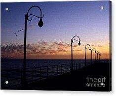 Santa Monica Pier Sunset Acrylic Print by Chris Jurgenson