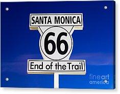 Santa Monica Route 66 Sign Acrylic Print by Paul Velgos
