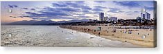 Santa Monica Sunset Panorama Acrylic Print by Ricky Barnard
