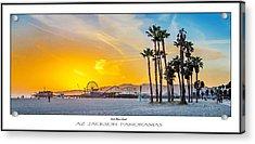 Santa Monica Sunset Poster Print Acrylic Print by Az Jackson