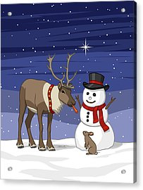 Santa Reindeer And Snowman Acrylic Print