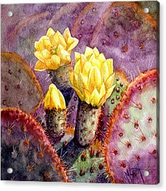Acrylic Print featuring the painting Santa Rita Prickly Pear Cactus by Marilyn Smith