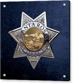 Santa Rosa Police Department Badge Over Blue Velvet Acrylic Print