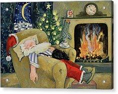 Santa Sleeping By The Fire Acrylic Print by David Cooke