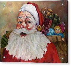 Santa With Bag Of Toys Acrylic Print by Sheila Kinsey