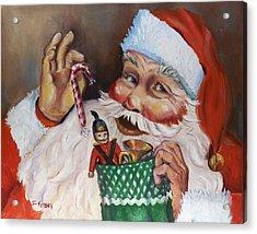 Santa With Stocking Acrylic Print by Sheila Kinsey