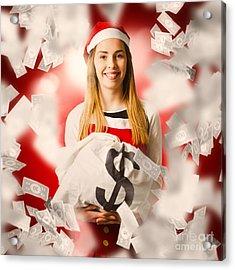 Santa Woman Celebrating A Money Bag Win Acrylic Print