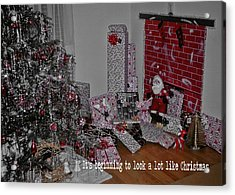 Santas Almost Here Quote Acrylic Print by JAMART Photography