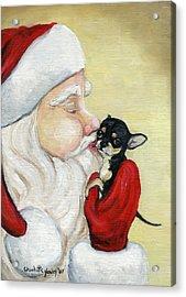 Santa's Kiss For Chihuahua Acrylic Print