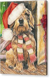 Acrylic Print featuring the drawing Santas Little Yelper by Barbara Keith