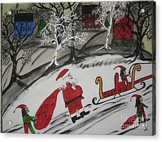 Acrylic Print featuring the painting Santa's Work Is Done  by Jeffrey Koss