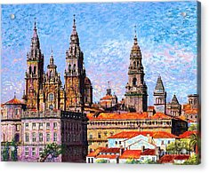Acrylic Print featuring the painting Santiago De Compostela, Cathedral, Spain by Jane Small