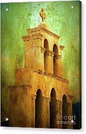 Santorini Arches And Cross Acrylic Print by KaFra Art