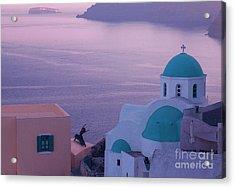 Santorini Dancer Acrylic Print by Jim Wright