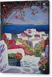 Santorini Acrylic Print by Dorota Nowak
