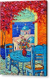 Santorini Dream Greece Contemporary Impressionist Palette Knife Oil Painting By Ana Maria Edulescu Acrylic Print