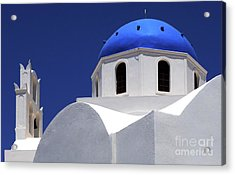 Acrylic Print featuring the photograph Santorini Greece Architectual Line 2 by Bob Christopher