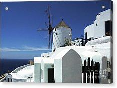 Acrylic Print featuring the photograph Santorini Greece Architectual Line 5 by Bob Christopher