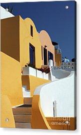 Santorini Greece Architectual Line Acrylic Print by Bob Christopher