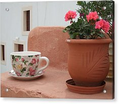 Santorini Greece Cafe Teacup And Flowerpot Acrylic Print by Nikki Bordon