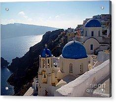 Santorini Greece Acrylic Print by Nancy Bradley