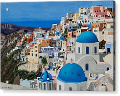 Santorini Acrylic Print by Mary Susan Vaughn