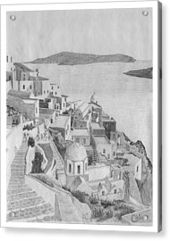 Santorini Sketch Acrylic Print by Rod Jones