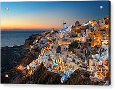 Santorini Skyline Night Acrylic Print by Songquan Deng
