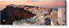 Santorini Skyline Sunset Acrylic Print by Songquan Deng