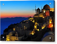 Santorini Sunset Acrylic Print by Ian Stotesbury