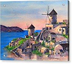 Santorini Windmills Acrylic Print