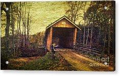 Santoy Covered Bridge #35-58-38 Morgan County Ohio Acrylic Print by Robert Gardner