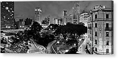 Sao Paulo Downtown At Night In Black And White - Correio Square Acrylic Print