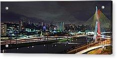 Sao Paulo Skyline - Ponte Estaiada Octavio Frias De Oliveira Wit Acrylic Print