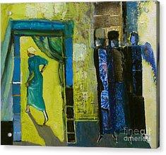 Sarah And The Three Angels Acrylic Print by Richard Mcbee