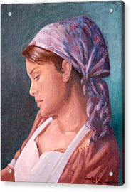 Sarah The Kitchen Maid  After Johnnie Liliedahl Acrylic Print by Quwatha Valentine