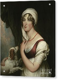 Sarah Trumbull With A Spaniel Acrylic Print by John Trumbull
