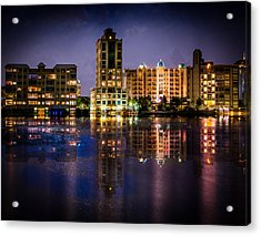 Acrylic Print featuring the photograph Sarasota Bay After Dark by Claudia Abbott
