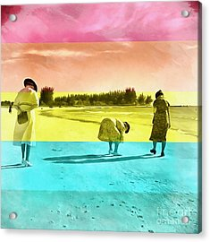 Acrylic Print featuring the painting Sarasota Series Beachcombers by Edward Fielding