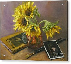 Sargent And Sunflowers Acrylic Print by Lisa  Spencer